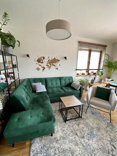 butelkowa zieleń sofa
